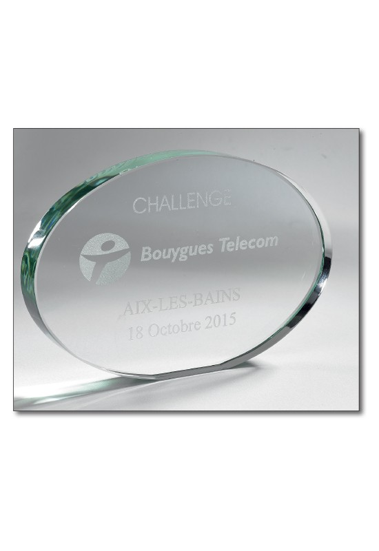 Oval Glass Trophy 21x15cm