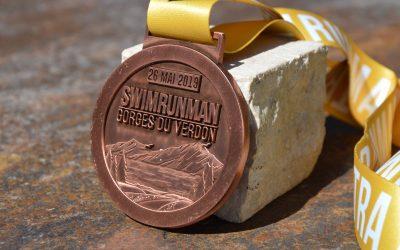 Swim Run Man Medals